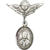 Sterling Silver Baby Badge with Blessed Pier Giorgio Frassati Charm and Angel w/Wings Badge Pin 2.2cm X 1.9cm