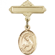 14kt Yellow Gold Baby Badge with St. Rose of Lima Charm and Polished Badge Pin 2.5cm X 1.6cm