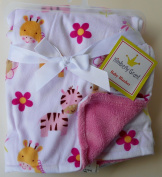Reversible Pink Baby Blanket - Zoo Animals