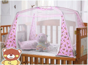 CdyBox Zippered Baby Kid Children Nursery Bed Crib Mongolia Pack Folding Cot Mosquito Net Yurt with Stand