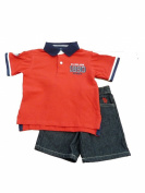 USPA Toddler Boys Red 1890 Authentic Polo Shirt & Jean Shorts Set