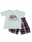 USPA Polo Infant & Toddler Boys White T-Shirt & Red Plaid Shorts Set