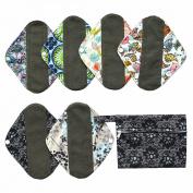 7pcs Set 1pc Mini Wet Bag +6pcs 20cm Charcoal Bamboo Mama Cloth/ Menstrual Pads/ Reusable Sanitary Pads / Panty Liners