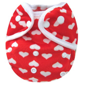 Kawaii Baby One Size Happy Leak-free Snap Cloth Nappy Cover for Prefolds Hearts