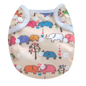 Kawaii Baby One Size Happy Leak-free Snap Cloth Nappy Cover for Prefolds Elephant