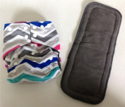 Chevron Charcoal Bamboo Pocket Cloth Nappy Nappies Nappy**Insert Included**