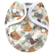 Kawaii Baby One Size Happy Leak-free Snap Cloth Nappy Cover for Prefolds Bird House