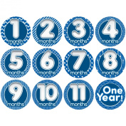 """Stick'Nsnap(TM) 12 MONTHS milestones monthly growth stickers for baby boy or girl """"Happy Bubbles"""" Blue theme 8.3cm diameter. To put on shirt bodysuit creeper or ONESIE. Use every month to take pictures."""