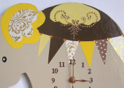 Nursery Clock, Elephant Wall Clock, Nursery Beige Elephant Wall Clock, Nursery Clock, Kid's Room Wall Clock