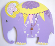 Nursery Wall Clock, Nursery Elephant Clock, Purple Elephant Wall Clock, Children's Room Wall Clock, Wall Clock, Kid's Room Elephant Wall Clock