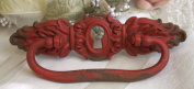Red Pewter Victorian Drawer Pull Handle Vintage Distressed 13cm