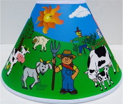 Farm Animal Lamp Shade / Complete Farm Theme with Barnyard, Cows, Horses, Pigs, Chickens, Ducks, and Tractor