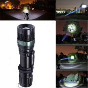 1Pc Best 3000 Lumen LED Flashlight Zoomable Torch Light Adjustable Focus 3-Mode Brightness Colour Black