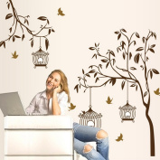Brown Tree Birds Birdcages Wall Decal Home Sticker Paper Removable Living Dinning Room Bedroom Kitchen Art Picture Murals DIY Stick Girls Boys kids Nursery Baby Playroom Decoration PP-AY9039