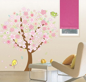 Peach Blossom Tree Birds Wall Decal Home Sticker Paper Removable Living Dinning Room Bedroom Kitchen Art Picture Murals DIY Stick Girls Boys kids Nursery Baby Playroom Decoration PP-XX1131