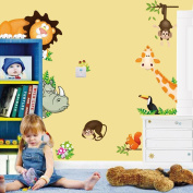 Zooyoo Zoo Lion Animals Removable Vinyl Mural Art Wall Sticker Decal