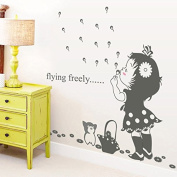 Dnven (100cm w X 80cm h) Girl Blowing Bubbles Flying Freely Vinyl Peel and Stick Wall Stickers Wall Decals Removable Decors for Bedrooms Children Rooms Nursery