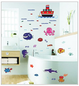 Dnven (180cm w X 100cm h) Undersea Fishes Tropical Fishes Sea Horse Octopus Vinyl Wall Stickers Wall Decals Removable Decors for Bedrooms Children Rooms Nursery