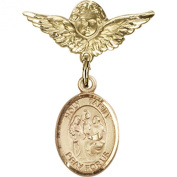 Gold Filled Baby Badge with Holy Family Charm and Angel w/Wings Badge Pin 2.5cm X 1.9cm