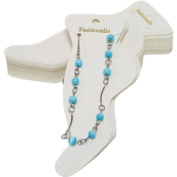 White Paper Anklet Jewellery Cards - Pack of 100