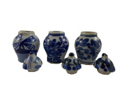 3 pc Lot Vintage Ceramic Antique Vase Chinese Miniatures Ceramic Furniture Dollhouse Jar Pot Lot Doll