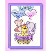 Janlynn Balloon Ride Birth Announcement Cross Stitch Kit, 13cm by 18cm