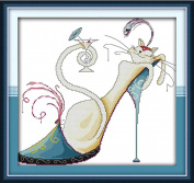 Benway Counted Cross Stitch White Cat In Blue High-Heelded Shoe 14 Count 41cm X 39cm