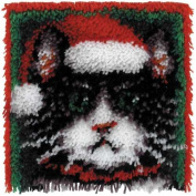 Caron Wonder Art Christmas Cat Latch Hook Kit #4695