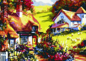Greek Art Paintworks Paint Colour By Number,Mountain Villas styleA,41cm by 50cm