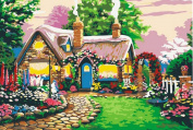 Greek Art Paintworks Paint Colour By Number,Fairy Tale Cottage styleA,41cm by 50cm