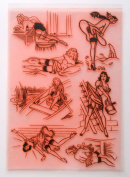 Pin-Up Girl Jenny Series Vintage Sexy (18cm x 25cm ) Large Sheet Clear Stamps Vintage