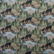 Designer Fabrics A019 140cm . Wide , Baby Black Bear Following Mom, Trees And Water, Themed Tapestry Upholstery Fabric