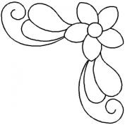 17cm Corner Flower Quilting Stencil - 591