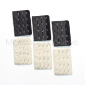 6-pack of Four-hook Bra Extenders - 3 black + 3 beige