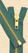 70cm Medium Weight Jacket Zipper YKK #5 Brass ~ Separating ~ 530 Dark Green