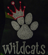 Paw with Crown Wildcats Rhinestone Transfer Iron On