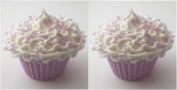 Set of 2 Lilac Sparkle Cupcakes with White Icing Perfect for 46cm American Girl® Dolls