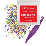 1cm inch Orthodontic Elastic Rubber Bands, 100 Pack, Neon, Light Force 70ml, Small Rubberbands for making bows, Dreadlocks, Dreads, Doll Hair, Braids, Horse Mane, Horse Tail, Fix Tooth Gap in teeth, Top Knots + FREE Elastic Placer for braces