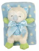 Stephan Baby Sleepy Owl Polka Dot Plush Blanket and Plush Owl Gift Set, Blue and White
