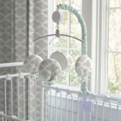 French Grey and Mint Quatrefoil Musical Mobile