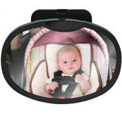 "Baby Car Mirror For Backseat That Allows Mom or Dad To See Child In Rearview Mirror At All Times While Driving, Adjustable Pivot and Oval-Shaped Convex Shatterproof Glass with ""TruReflect"" Technology"