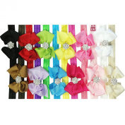 Kella Milla Ribbon Bow with Rhinestone Button Centre Stretchy Headband, Set of 12