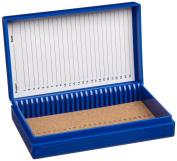 Heathrow Scientific HD15994A Blue Cork Lined 100 Place Microscope Slide Box, 21cm Length x 18cm Width x 3.3cm Height