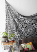 Black and White Tapestries Elephant Mandala Hippie Tapestry Indian Traditional Throw Beach Throw Wall Art College Dorm Bohemian Wall Hanging Boho Queen Bedspread