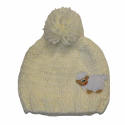 Knitted Beanie Hat for kids with Bobble and Embroidered Sheep, White colour