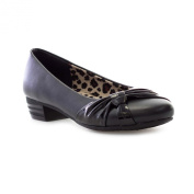 Lilley Girls Black Court Shoe with Patent Knot
