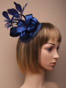 Fascinator Cap Clip - Navy satin cap fascinator with satin loops and feathers on a large fork clip