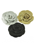 Zac's Alter Ego® Set of 3 Glitter Rose Flowers on Concord Clip & Brooch Pin