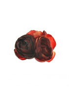 Zac's Alter Ego® Shaded Blood Red Triple Rose Flower on Concord Clip & Brooch Pin