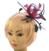 Black and red netted and feather fascinator comb for special outings